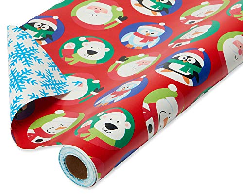 American Greetings Reversible Christmas Wrapping Paper Jumbo Roll, Holiday Characters and Snowflakes (1 Pack, 175 sq. ft.)