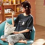 QQRR 22 Piezas Set Cuello Conjunto de Pijamas Pijamas de algodón de Las señoras de verano-T88101_XxlDormir de Manga Ropa de Dormir