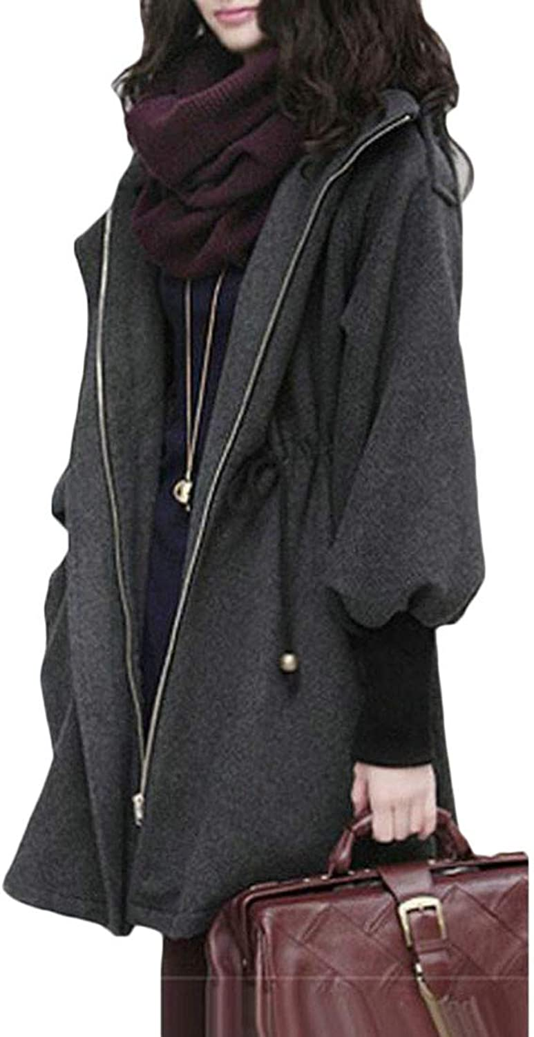 Sweatwater Womens Drawstring Stylish Hooded Outwear Plus Size Thickened Pea Coats