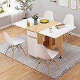 KaminHome - Mesa abatible Comedor Oficina Doris salón Cocina despacho con Ruedas Plegable multiposición Rectangular diseño nórdico escandinavo Minimalista Moderno 135 cm (Blanco/Roble)