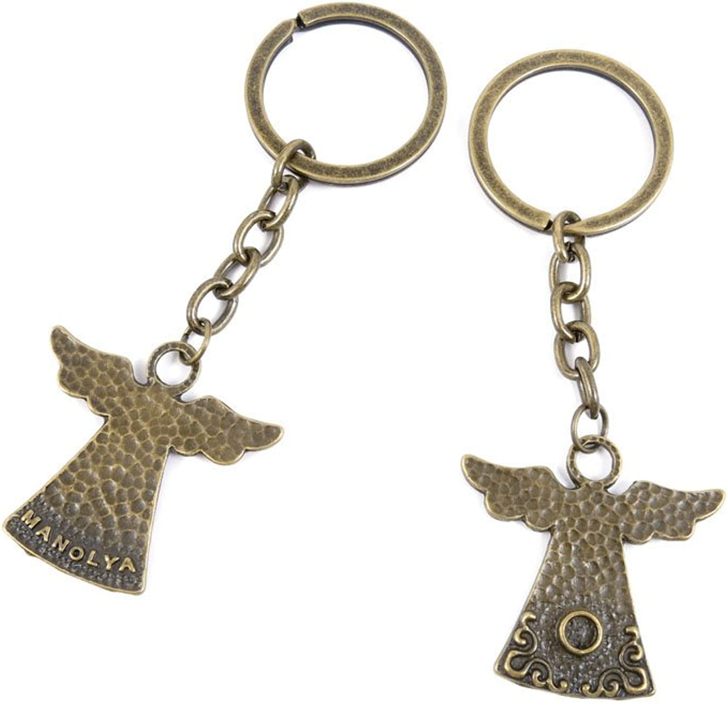 100 PCS Keyrings Keychains Key Ring Chains Tags Jewelry Findings Clasps Buckles Supplies N7ED6 Angel