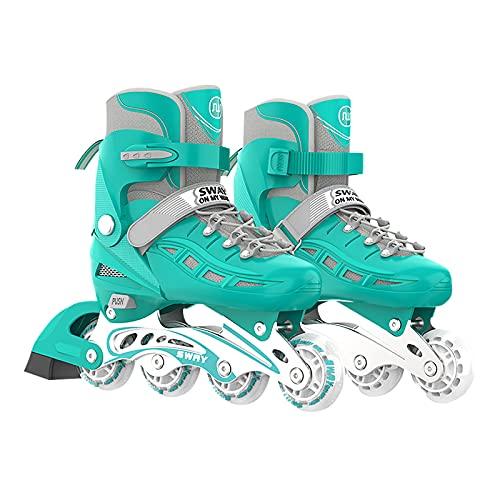 OLYSPM Inline Skates Inliner Damen,Inline Skates Herren,größenverstellbare Inliner,Vollständig schützende Hülle,Größe 26–40,LED Inline-Skates