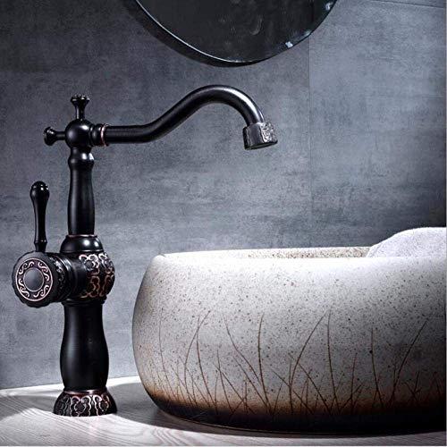 DJY-JY Grifos de lavabo negro aceite cepillado baño grifo lavabo tallado girar sola manija agua caliente y fría mezclador grifos grúa-antiguo medio grifo de cocina