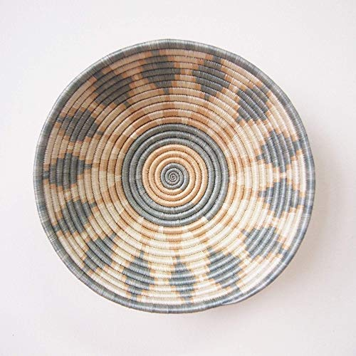 African Basket- Giti/Rwanda Basket/Woven Bowl/Sisal & Sweetgrass Basket/Blue-Gray, Tan, White