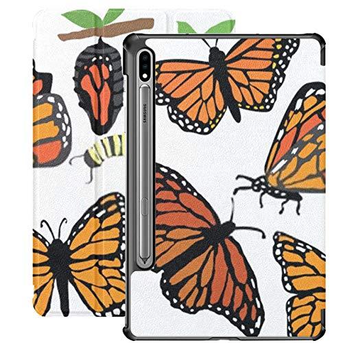 Funda para Galaxy Tab S7 Funda Delgada y Liviana con Soporte para Tableta Samsung Galaxy Tab S7 de 11 Pulgadas Sm-t870 Sm-t875 Sm-t878 2020 Release, extravagantes Mariposas monarca Dibujadas a Mano C