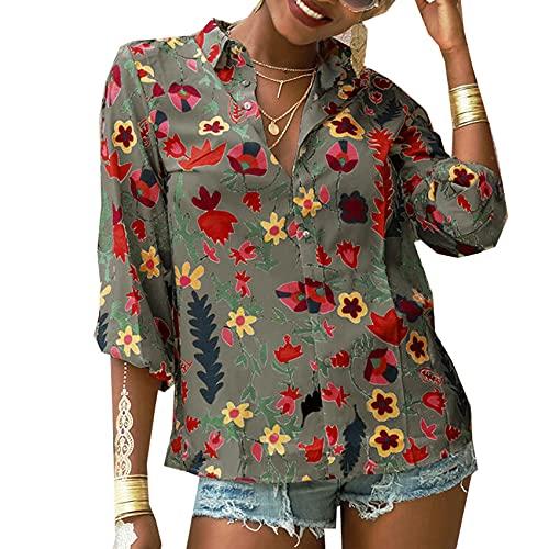 OtoñO Blusa De Gasa Camisa Floral De Manga Larga con Botones Mujeres