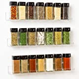 'Invisible' Acrylic Spice Rack Wall Mount Organizer [3 Pack 15' Shelves ] New Design With Shelf Ends - Clear, Strong, Sturdy & Space-Saving