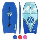 Volkswagen Bodyboard - 104cm VW Bulli T1 Samba Bus HDPE Slick-Base Boogie Board - Leine & Handgelenksschlaufe, 3 Farben -