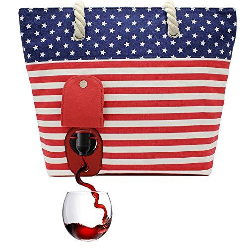 PortoVino Weintasche - Modisch mit verstecktem, isoliertem Fach für 2 Flaschen Wein aug dem Weg! (USA)