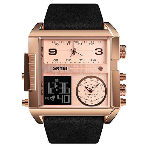 JTTM Reloj Deportivo Digital para Hombre, LED, Cuadrado, Esfera Grande, Analógico, De Cuarzo, con Cronómetro Impermeable Multizona Horaria,Rose Gold Black