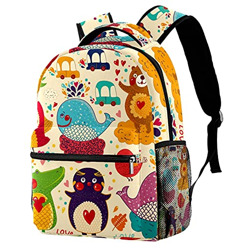 Fashion Kids Backpack Personalized School Bag Teens Casual Daypack Cartoon Whale Crocodile for Kindergarten Primary School Travel 11.5x8x16in