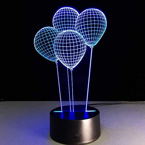 Lámpara de ilusión 3D Luz de noche Led Globos de helio Lámpara de escritorio luminosa Visual 7 Cambio de color Habitación para niños Regalo de Navidad para niños