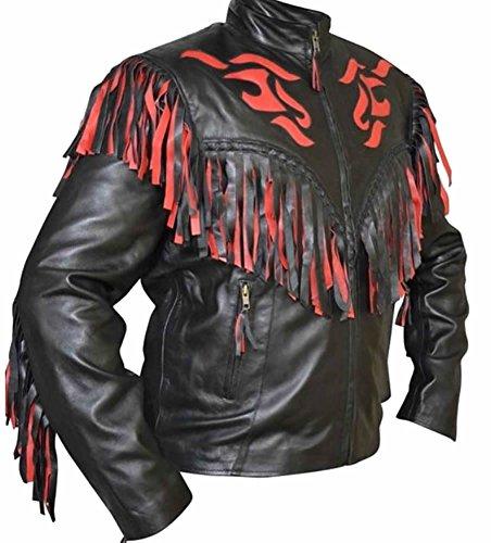 classyak Unisex Western flecos piel moto chaqueta de llama