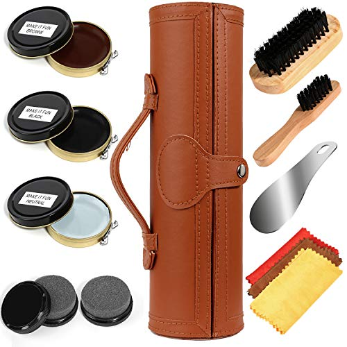 Shoe Shine Kit with PU Leather Sleek Elegant Case, 12-Piece Travel Shoe Shine Brush kit