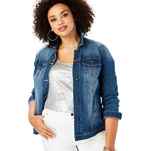 Roamans Women's Plus Size Essential Denim Jacket - 18 W, Medium Wash