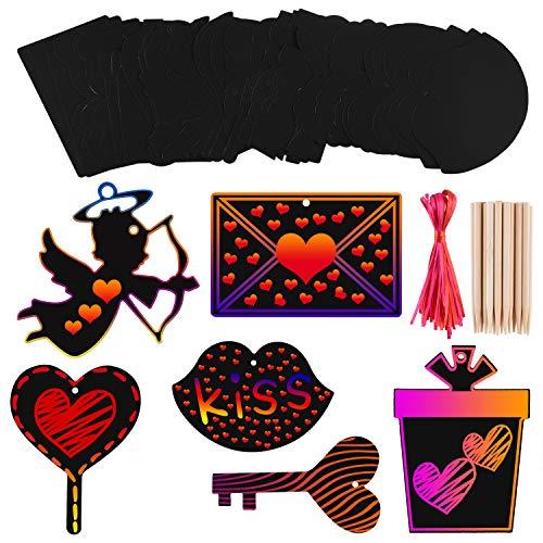 FEPITO 36 Set Adornos de Papel de arañazos de Arte de día de San Valentín Etiquetas de Regalo de Arte de Arte de rasguño de Color con 36 Piezas de Cintas para Decoraciones San Valentín