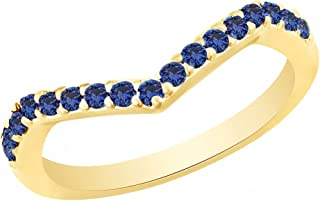 AFFY Round Cut Simulated Blue Sapphire Chevron Band Ring in 14k Gold Over Sterling Silver (0.36 Cttw)