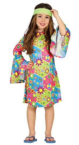 Guirca-Kostüm Hippie Tochter der Blumen für Kinder, mehrfarbig, 5-6 Jahre, 85607