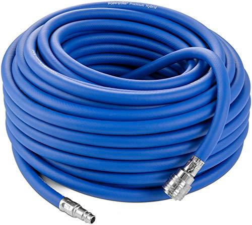 Poppstar - Tuyau d'air comprimé de 30 m pour compresseur (en PVC hybride avec garniture, Diametre interieure 9,2mm avec raccord rapide standard), jusqu'à 20 bar, bleu