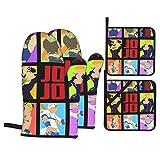 IUBBKI JoJo 's Bizarre Adventure - Juego de guantes de cocina con patrón y soporte para ollas, juego de 4 piezas