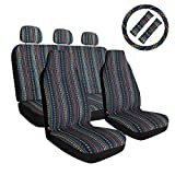 10pc Set Boho Seat Covers Baja Blanket Ethnic Style Coarse Flax Cloth Front and Rear Bench Covers with Steering Wheel Cover & Seat Belt Universal Fit Most Cars
