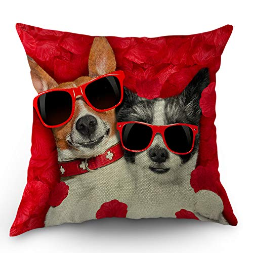 Moslion Dog Pillow Cover Dog Couple with Sunglasses in Red Rose Flower Petals On Valentine's Day Throw Pillow Case 18x18 Inch Cotton Linen Square Cushion Decorative Cover for Sofa Bed