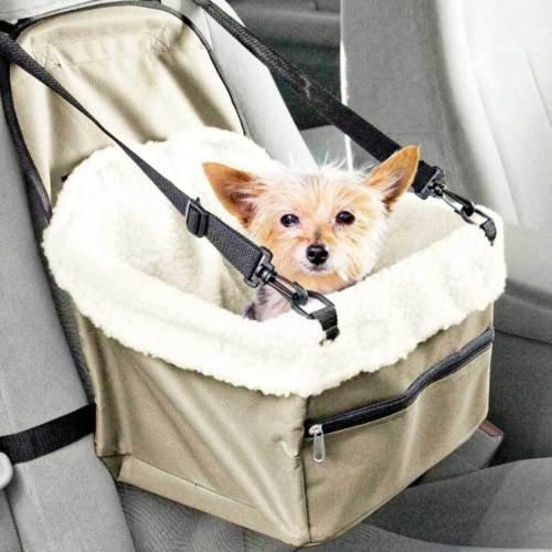 Sac de transport pour chien ou chat, avec ouverture d'accès et ceinture de sécurité pour siège de voiture