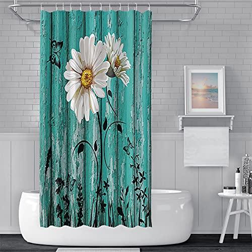 Haoyiyi 183 x 183 cm Blumen-Duschvorhang, kleine Gänseblümchen bemalte Pflanzen Cyan Holzplankenmuster Wasserdicht Duschvorhang-Set mit Loch für Zimmer, Hotel, Badezimmer, Duschraum, Badewanne