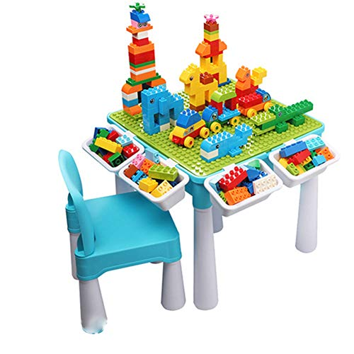 Dybory 7 in 1 Multi Kids Activity Table Set with Chairs and 128 Pieces Large Size Blocks, Building Blocks Table Compatible Classic Blocks Toy with 4 Pcs Storage, Water Table, Sand Table