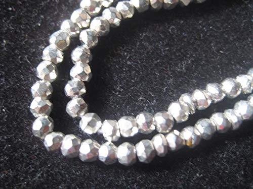 LOVEKUSH cuentas raras de pirita piedra preciosa de pirita, revestimiento de pirita plateado, microfacetado, cuentas de 3,5 mm, hilo de 14 pulgadas, cuentas al por mayor BeadsCode-RM1287