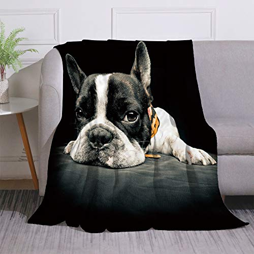 Miblor French Bulldog Blanket Super Soft Warm 60x80 Inch Plush Fleece Throw Blanket for Sofa Bed Travelling Camping Gift Idea