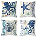 Pack of 4 Decorative Throw Pillow Covers 18x18 Inch Ocean…