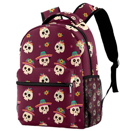 Mochila con diseño de calavera, mochila de viaje, casual, para mujeres, adolescentes, niñas y niños