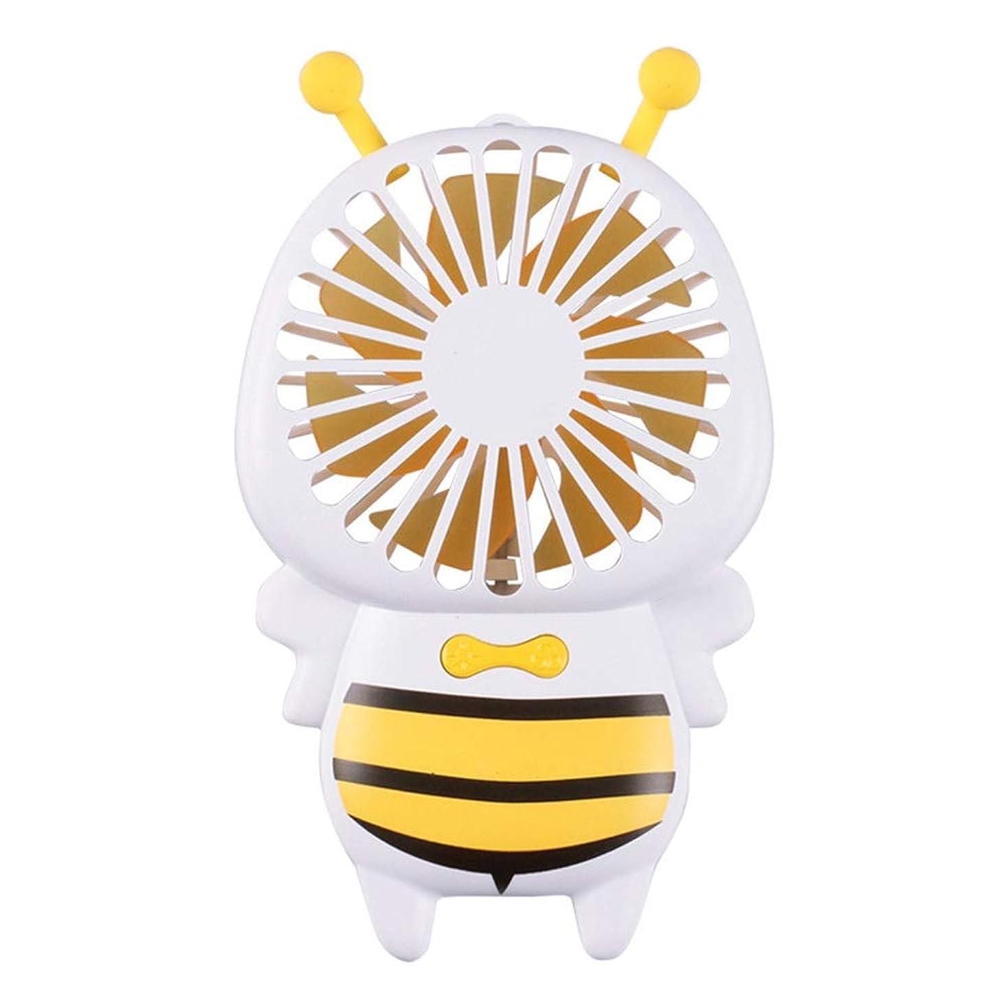 ペネロペ夢中ショッピングセンターファン小型の蜂のファン携帯用ハンドヘルド超薄型夜の光ファンミニusb小型ファン (Color : Yellow)