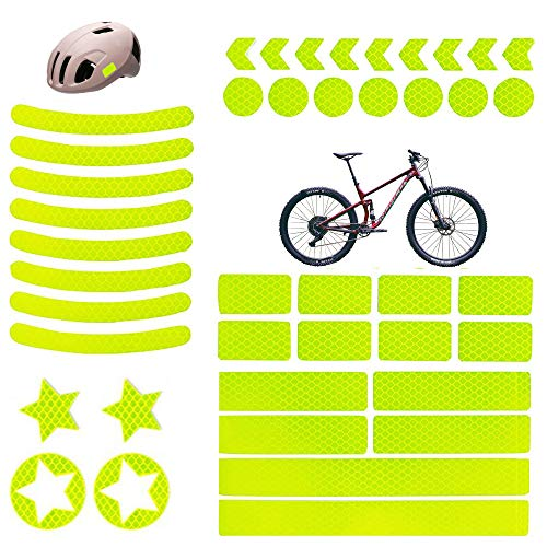 Reflektierende Aufkleber, 42 Stück Reflektoren Aufkleber Sticker Reflektierende Aufkleber Selbstklebend Leuchtaufkleber Fahrrad Im Dunkeln, Hochreflektierend Warnstreifen für Kinder Fahrräder, Gelb