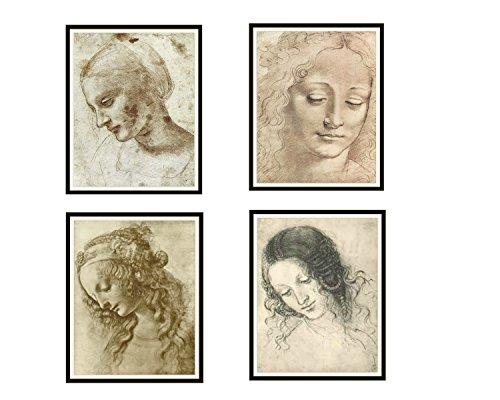 Paper Moon Media 4er Set Vintage ungerahmt Leonardo Da Vinci Kunstdruck Poster Reproduktionen Frau Portrait Skizzen ungerahmt 8 x 10 (8 x 10) Farm House Art