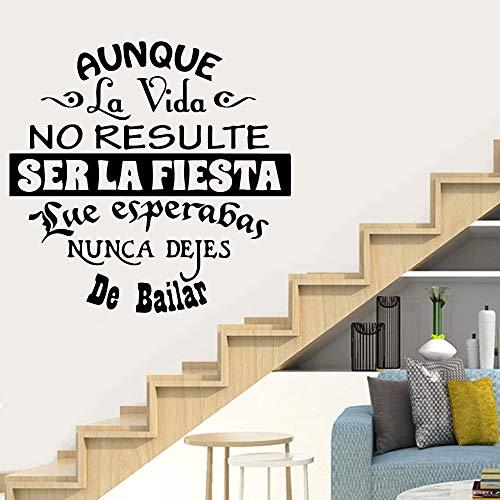 AQjept Nuevas Frases en español Arte de la Pared Pegatinas Sala de Estar Mural de Vinilo decoración del hogar42x42cm
