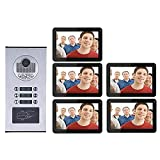 Leo2020 Doorbell,9 inch Record Wired WiFi 5 Apartments Video Intercom System HD 1000TVL Camera Doorbell Camera with 6 Button 5 Monitor Waterproof
