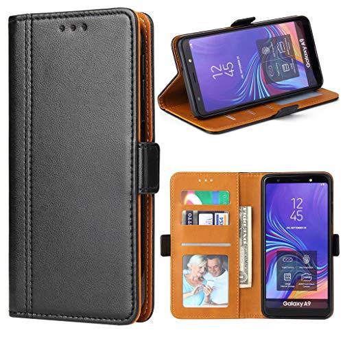 Bozon Handyhülle für Samsung Galaxy A9 2018, Lederhülle mit Kartenfächer, Schutzhülle mit Standfunktion, Schwarz