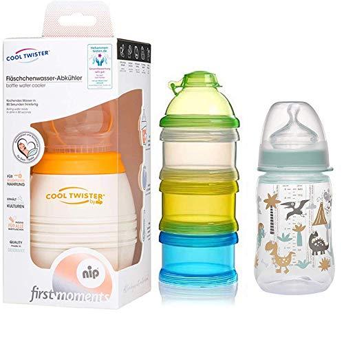 NIP Flaschenkühler Cool Twister Set // 1 x NIP Flasche 260ml mit Sauger Gr. M // 1 x Reer Milchpulver- Portionierer