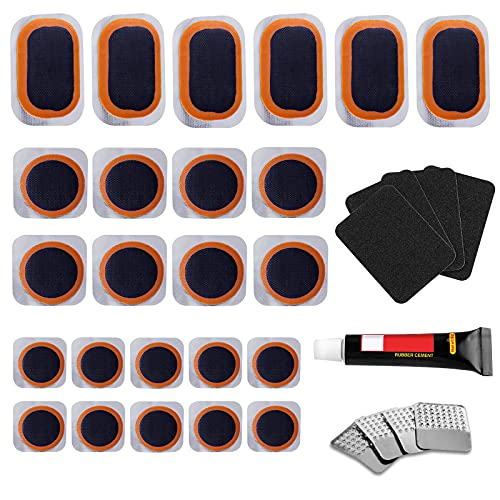 KOAREL Bike Tire Repair Kit - Bycicle Inner Tube Puncture Patch Kits with 24PCS Vulcanizing Patches,Sandpaper,Metal Rasp,Portable Storage Box for Cycling, Motorcycle, BMX, ATVs, Inflatable Rubber