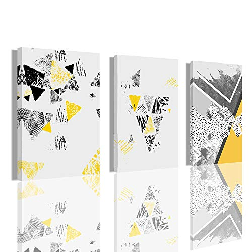 Wall Art Geometry Living Room Decor - Yellow Abstract Triangle Decorative Painting Hanging in the Living Room Restauran 12 x 16 inches x 3 Panels