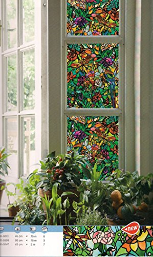 d-c-fix Klebefolie Sichtschutz Tulia Tiffany Glas Blumen Dekor 90 breit Meterware