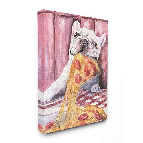 Stupell Industries French Bulldog and Pizza Funny Dog Pet Animal Watercolor Painting Canvas Wall Art, 16 x 20, Multi-Color