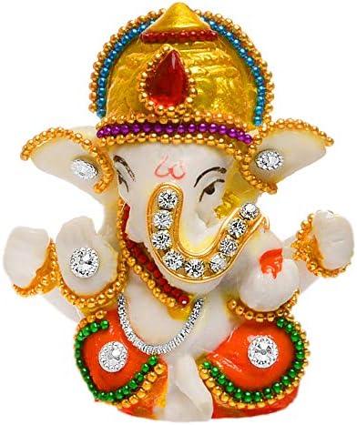 Karigaari India White Stone God Ganesha Car Dashboard Decor Statue | Hindu Idol God Ganesh Ganpati Decor Sculpture | ...