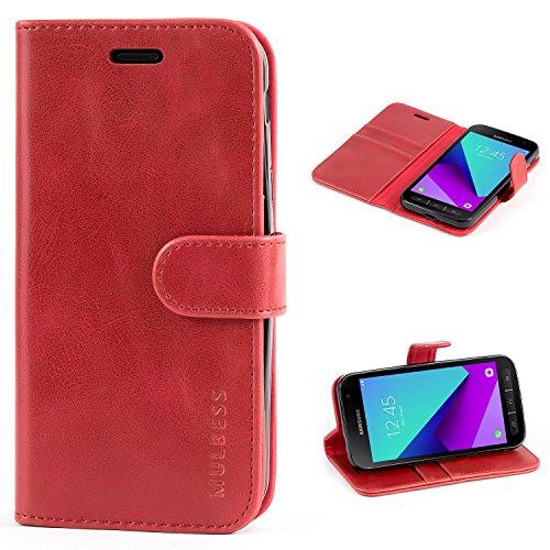 Mulbess Handyhülle für Samsung Galaxy XCover 4 Hülle, Leder Flip Case Schutzhülle für Samsung Galaxy XCover 4 / 4s Tasche, Wein Rot