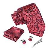 Massi Morino ® Set de corbata (caja regalo para hombres) Corbatas de hombre y pañuelos + gemelos + clip de corbata (Paisley rojo)