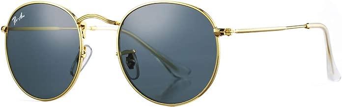Pro Acme PA3447 Classic Crystal Glass Lens Retro Round Metal Sunglasses,50mm