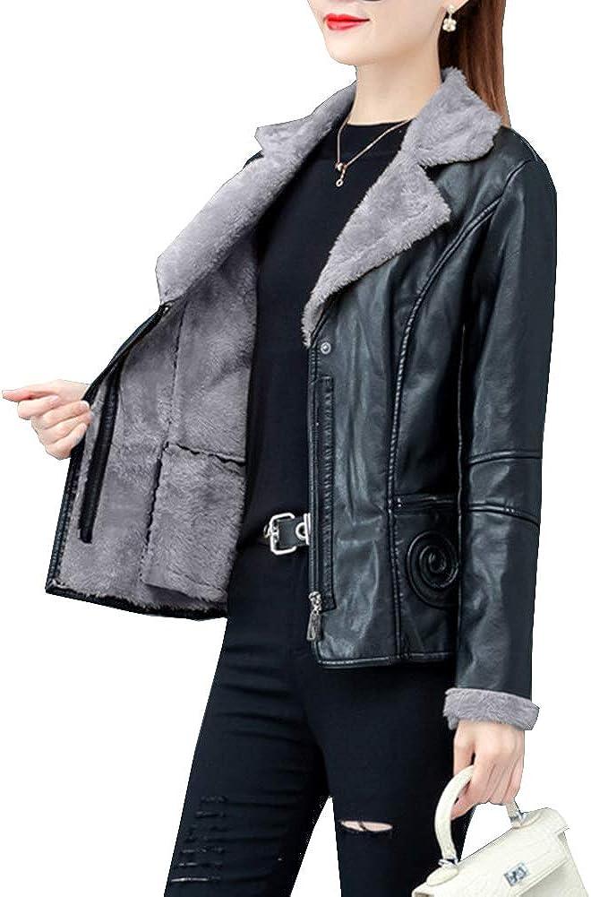 Arlita Women's Faux Sherpa Fur Lined PU Leather Jacket Lapel Slim Short Moto Biker Jacket Coat
