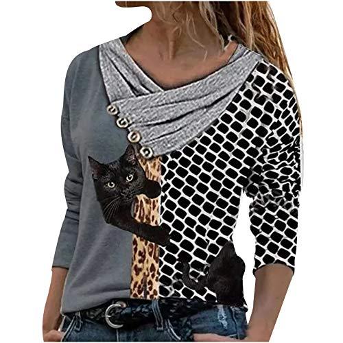 XWANG Camiseta de manga larga para mujer con estampado de animales, para verano, informal, a rayas, escote en V, diseño de gato, tallas grandes gris oscuro M